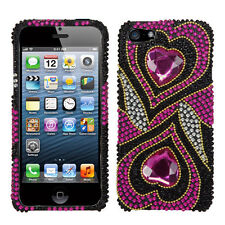 For iPhone 5 5S SE Crystal Diamond BLING Hard Case Phone Cover Hypnotic Hearts