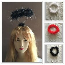 Black White Red Angel Halo halo ring with feathers fairy angel costume party