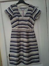 CREW abbigliamento LILIA Blu Navy Bianco Mink a più righe Lino SMART Shift Dress 10