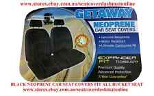 PAIR NEOPRENE CAR SEAT COVERS WITH WHITE STITCH FIT HYUNDAI LANTRA BUCKET SEAT
