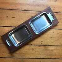 Vintage Galatix England Mid Century Teak and Stainless Steel Serving Tray