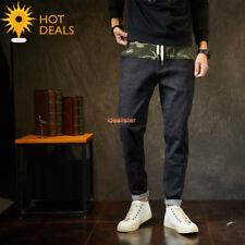 Men`s Retro Loose Camo Denim pants Harem Stretch Taper Fit Jeans Plus Size M-7XL