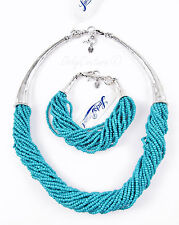 $88 Lucky Brand Turquoise-Hue Beaded Metal Horn Torsade Necklace & Bracelet Set