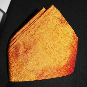"Orange Dupioni Silk Pocket Square - Full-Sized 16"" x 16"""