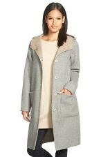 668 NEW EILEEN FISHER Hooded Coat,2X,Double Face,Alpaca,Moon,Knee Len ,Hood,NWT