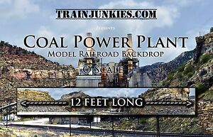 "TrainJunkies O Scale ""Coal Power Plant"" Model Railroad Backdrop 144""X24"""