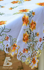 Square Table Cloth, Embroidered Orange Daffodils, 88x88cm (36x36in) FFDWY52