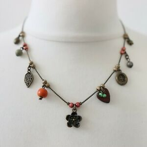 NEXT Necklace Floral Charms Ladybird Heart Button Antique Brass Vintage Look Y2K