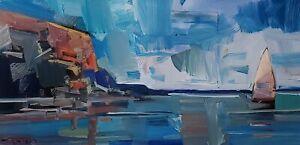 JOSE TRUJILLO Oil Painting IMPRESSIONISM CONTEMPORARY 12X24 NAUTICAL MODERN ART