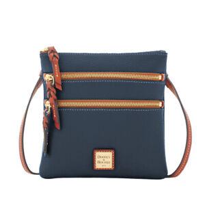 Dooney & Bourke Womens Midni Blue Pebble Leather Triple Zip Crossbody Bag 8846-7
