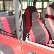 Jeep Wrangler Neoprene Seat Cover Red/Black Full Set Front+Rear 1991 1992 YJ91RD