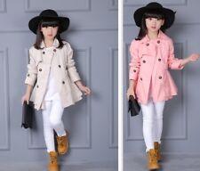 Kids Girls Fashion Double Breasted Trench Coat Wind Jacket Dress Outwear