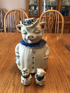 Vintage Shawnee Winnie the Smiling Pig Cookie Jar and salt and pepper shakers