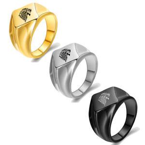 Men's Vintage Signet Ring Thrones Game Ice Wolf Ring Stainless Steel Punk Biker