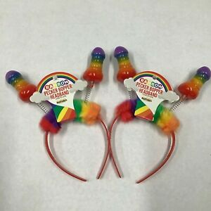 2 Rainbow Pecker Bopper Headbands w/ Red Band Bachelorette Pride Wear Proudly