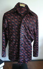 Euc Vtg 70s Mens Shirt Tapered Arrow Canada L Disco Stirrup Print Nylon Knit