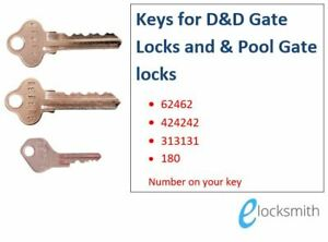 Key to Suit D&D Technologies Pool Gate Lock Magna Latch 424242  313131 62462