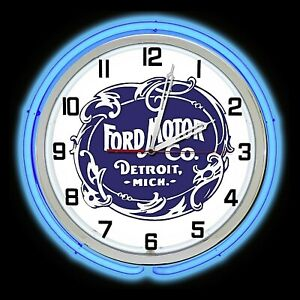 """19"""" Ford Historic Logo Sign Blue Double Neon Clock"""