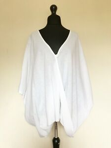 New Italian Lagenlook White Cotton / Linen Oversized Twisted Front Top - 16 - 24