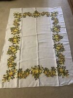 Vintage MCM LUTHER TRAVIS Linen Tablecloth 48 x 68 Fruit/Pears/Yellow/Green