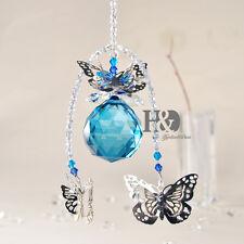 H&D Handmade Butterfly Crystal Ball Prism Pendant Hanging Suncatcher Home Decor