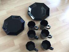 ARCOROC OCTIME Speiseteller achteckig 8-eckig schwarz France ⭐ sehr gut erhalten