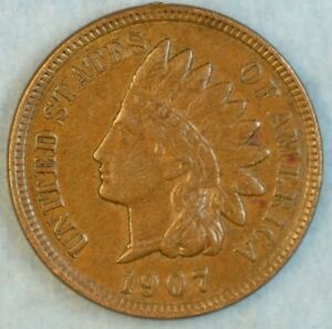 1907 Indian Head Cent Vintage Penny Old US Coin Liberty Full Rims Fast S&H 504