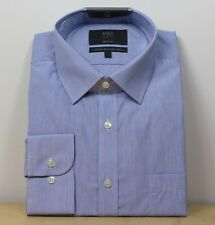 "M&S  Regular Fit COTTON Rich LONG SLEEVE SHIRT ~ Size 16"" ~ BLUE Stripe"