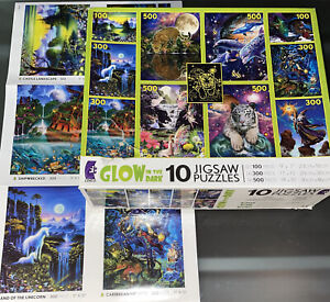 NEW SEALED Ceaco Glow In The Dark Fantasy 10 Pack Jigsaw Puzzle POSTERS Read Dis