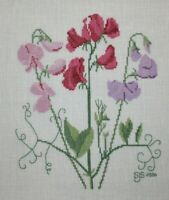 Sweet Pea Flower Pink Purple Cross Stitch Completed Finished Unframed
