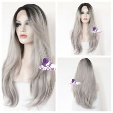 Fashion Lace Front Wig Cosplay Wig 24'' Mixed Grey Heat Resistant Fancy Full Wig
