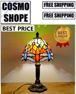 """Tiffany Style Table Lamp Dragonfly Blue Green Stained Glass Antique Vintage H18"""""""