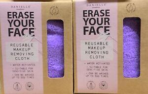 2x Danielle Erase Your Face Eco Makeup Removing Cloth PURPLE