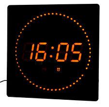 LED Wanduhr Temperatur Wecker Datum Studiouhr mit Sekunden-Lauflicht rote LEDs