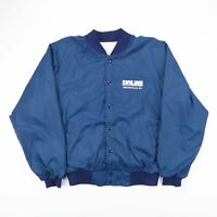 Vintage Skyline Blue Nylon Bomber Jacket Size Men's Large