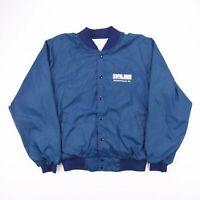 Vintage Skyline Blue Nylon Bomber Jacket Size Men's Large