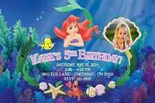Little Mermaid Ariel Birthday Party Invitation Boy or Girl Any Colors Add Photo