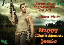 WALKING DEAD Daryl Dixon Personalised Happy Christmas Xmas Greeting zombie Card