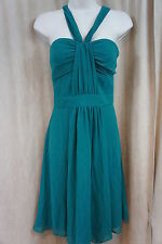 "Nine West Dress Sz 4 Ultra Green "" Funky Town"" Empire Sheer Strap Cocktail"