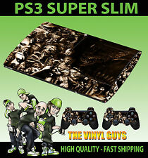 PLAYSTATION PS3 Super Slim HORROR COLLAGE SEPPIA EVIL SKIN ADESIVO & 2 PAD Pelle