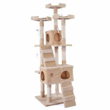 """Cat Tree Tower Cond New 67"""" Furniture Scratching Post Pet Kitty Play House Beige"""