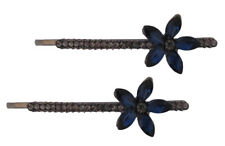 Graphite and Blue Crystal Flower Hair Grips/Hair Clips/Bobby Pins/Kirby Grips