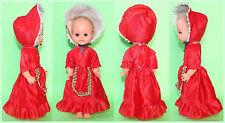 "12"" Vintage East German Ddr Sleepy eye Red Hat Rubber Doll 1970's"
