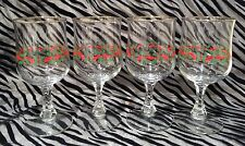 4 LRS Green & Red Holly,Red Ribbon w/Gold Rim Wine/Water Goblets  6 & 3/4 In