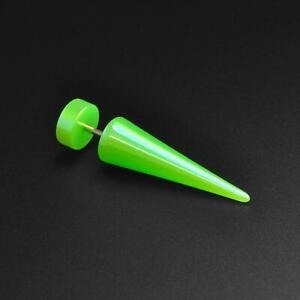 Fake Ear Stretcher Plugs Earring Metallic Green Pearl Acrylic Fake Gauge Taper