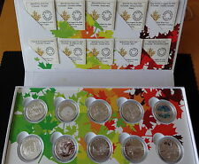 2014 10 X 1/2 OZ FINE SILVER PROOF CANADA $10 COINS BOX SET + ALL COA'S O CANADA