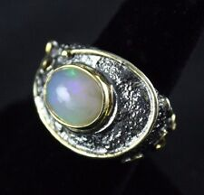 Oxidized Sterling Silver Ring Opal Gemstone Handcrafted Size 8