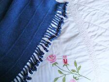 VINTAGE Herringbone Weave Throw Cover ~ Cobalt Blue Glass Beads 5' x 6' Nautical