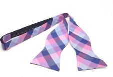 $125 TOMMY HILFIGER Mens PINK BLUE CHECK CASUAL SILK BOW TIE ADJUSTABLE BOWTIE