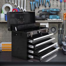 Portable Toolbox Locking Tool Chest Cabinet Storage 4 Drawers Black